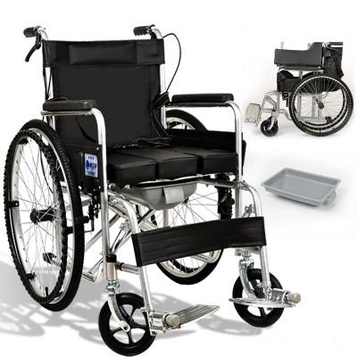 老人轮椅残疾人折叠老年人带坐便轻便便携多功能手推车代步车